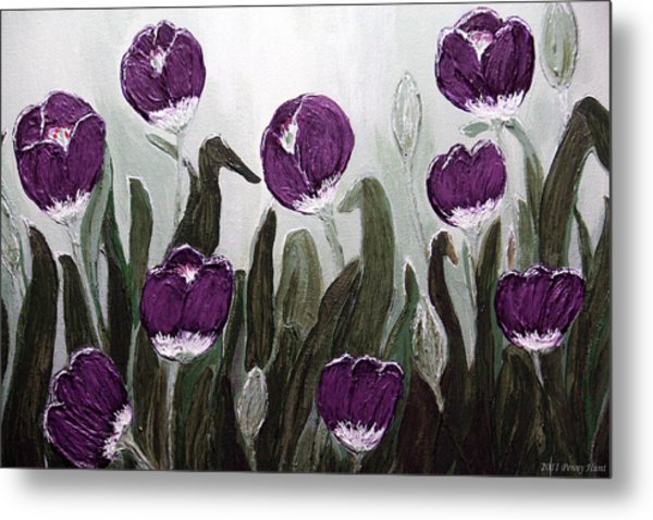 Tulip Festival Art Print Purple Tulips From Original Abstract By Penny Hunt Metal Print