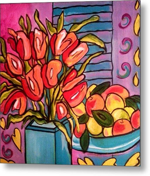 Tulips And Fruit Metal Print