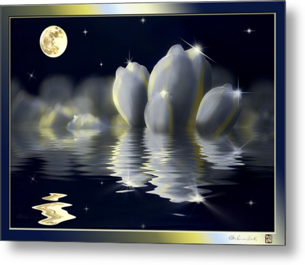 Tulips And Moon Reflection Metal Print
