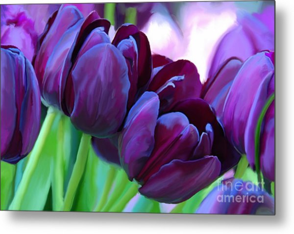 Tulips-dark-purple Metal Print