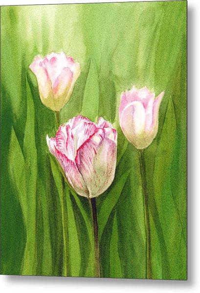 Tulips In The Fog Metal Print