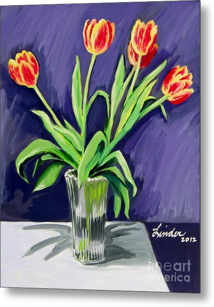 Tulips On The Table Metal Print