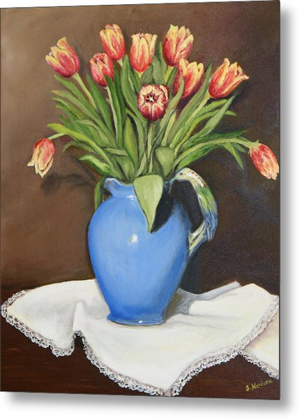 Tullips In Parrot Pitcher Metal Print