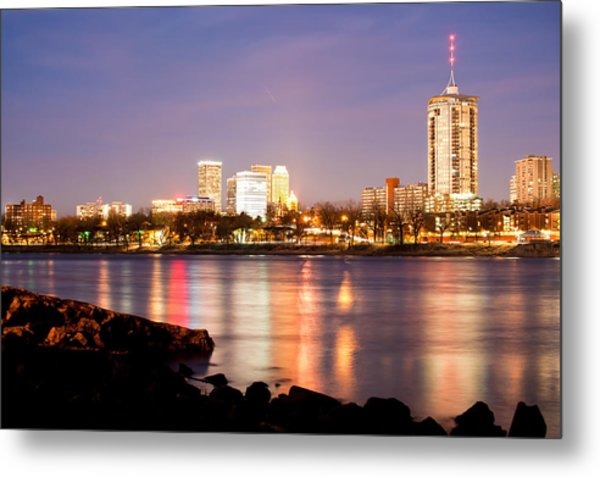 Tulsa Oklahoma From The Shoreline Metal Print