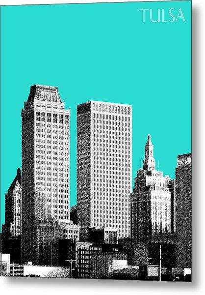Tulsa Skyline - Aqua Metal Print