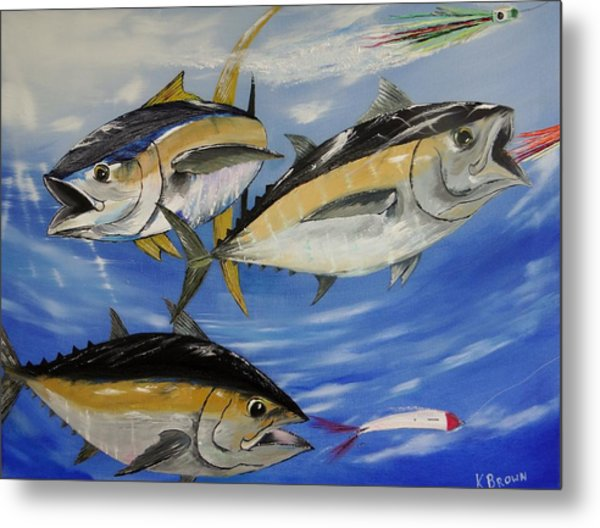 Metal Print featuring the painting Tuna Attack by Kevin  Brown