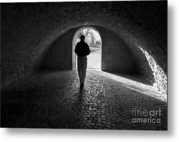 Tunnel Silhouette Bw Metal Print