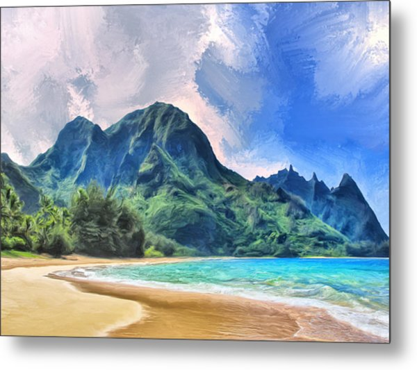 Tunnels Beach Kauai Metal Print