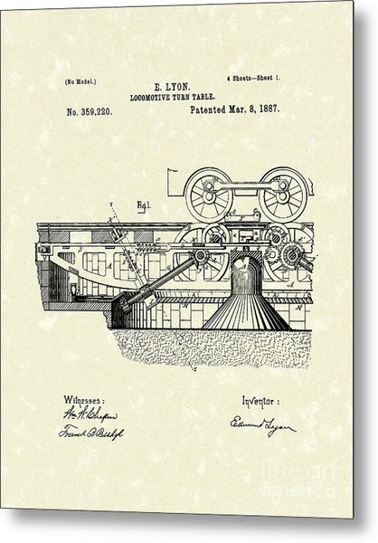 Turn Table 1887 Patent Art Metal Print by Prior Art Design
