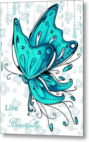 Turquoise Aqua Butterfly And Flowers Inspirational Painting Design Megan Duncanson Live Beautifully Metal Print