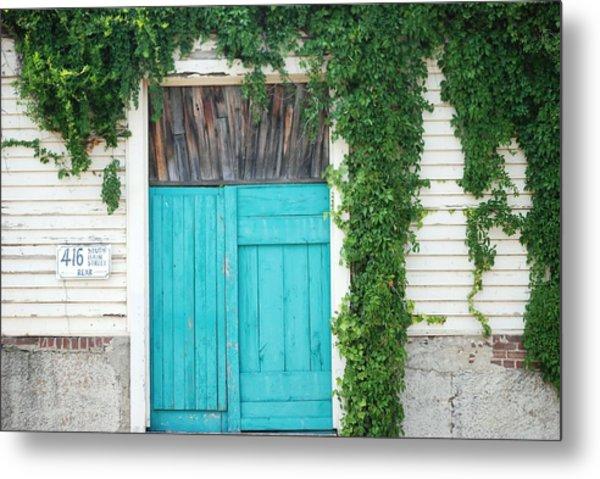 Turquoise Door Metal Print by Pamela Schreckengost