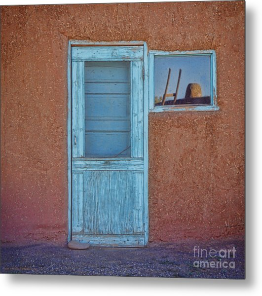 Turquoise Reflection Metal Print
