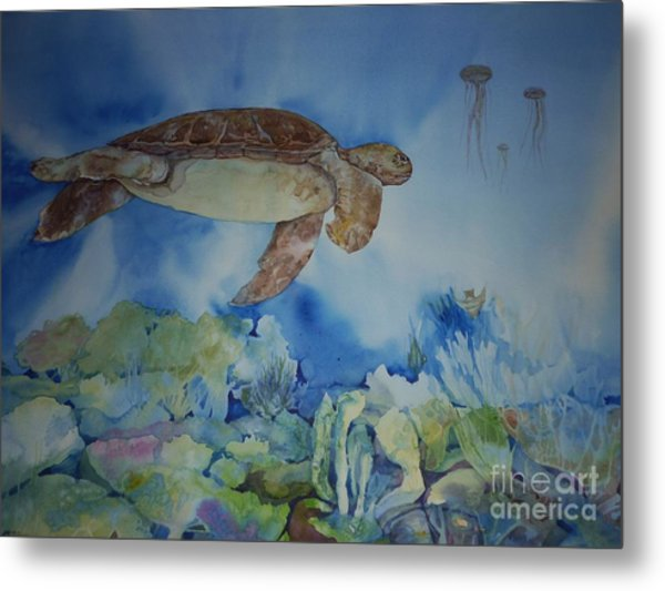 Turtle And Jelly Fish Metal Print