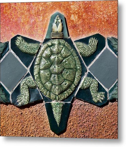 Turtle Mosaic Metal Print