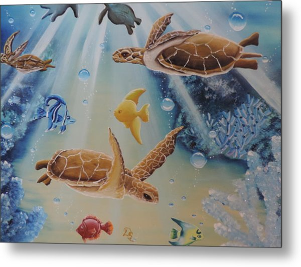 Turtles At Sea #2 Metal Print