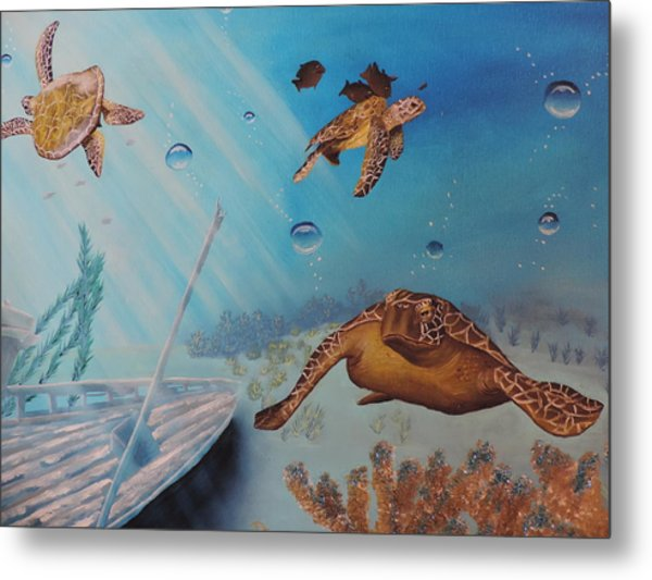 Turtles At Sea Metal Print