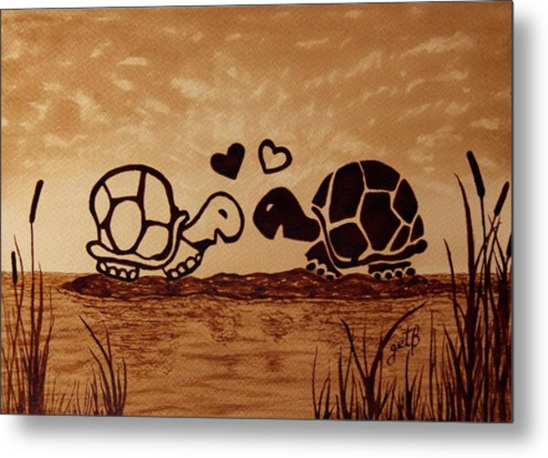 Turtles Love Coffee Painting Metal Print