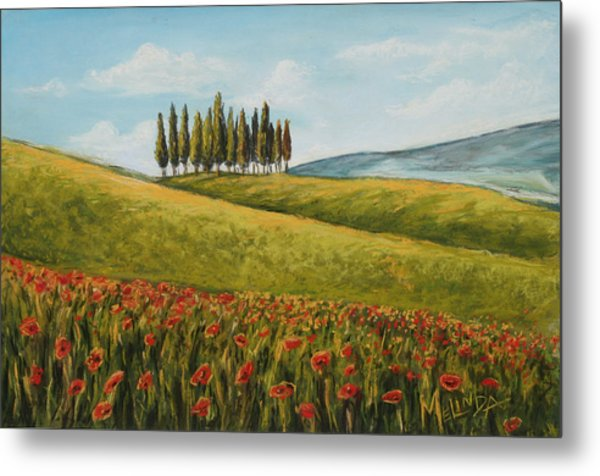 Tuscan Field With Poppies Metal Print