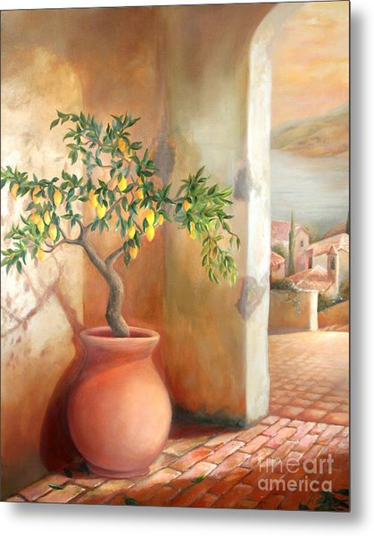 Tuscan Lemon Tree Metal Print