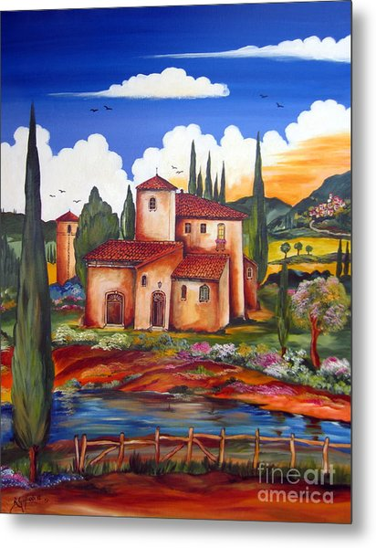 Tuscany Farmhouse Metal Print
