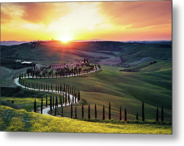 Tuscany Landscape At Sunset Metal Print by Borchee