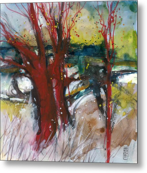 Tuscany Landscape With Red Tree Metal Print by Alessandro Andreuccetti