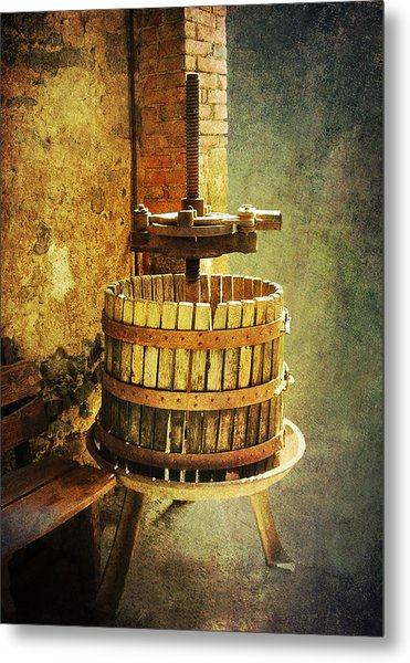 Tuscany Wine Barrel Metal Print