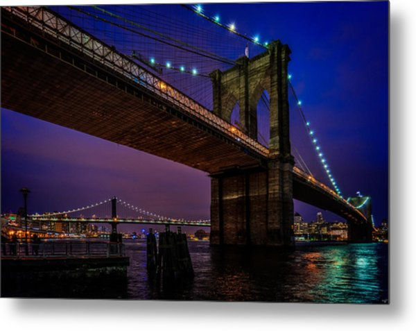 Twilight At The Brooklyn Bridge Metal Print