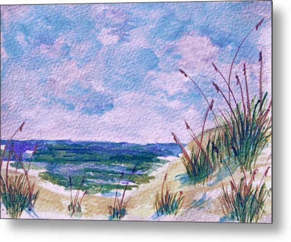 Metal Print featuring the painting Twilight Beach by Donna Proctor
