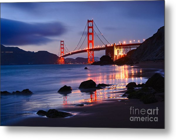 Twilight - Beautiful Sunset View Of The Golden Gate Bridge From Marshalls Beach. Metal Print
