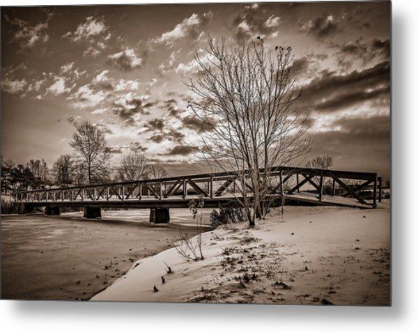 Twilight Bridge Over An Icy Pond - Bw Metal Print