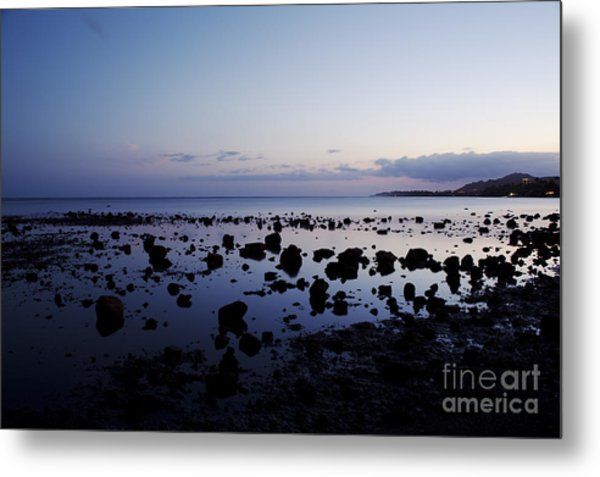 Twilight Glow Over Ocean Metal Print