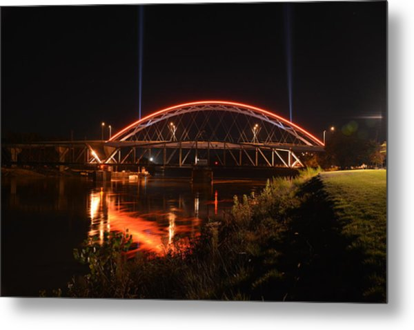 Twin Bridges At Night Metal Print