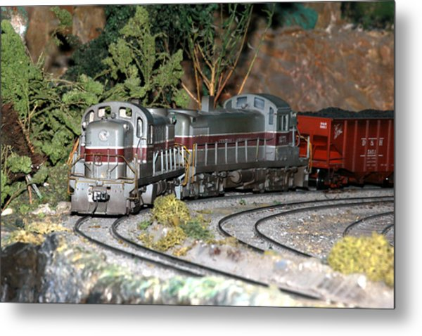 Twin Diesel Work Trains Metal Print by Hugh McClean