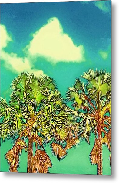 Twin Palms With Aqua Sky - Vertical Metal Print