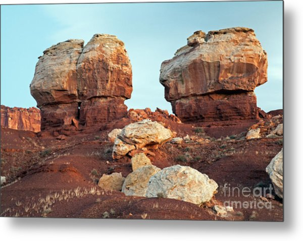 Twin Rocks At Sunrise Capitol Reef National Park Metal Print