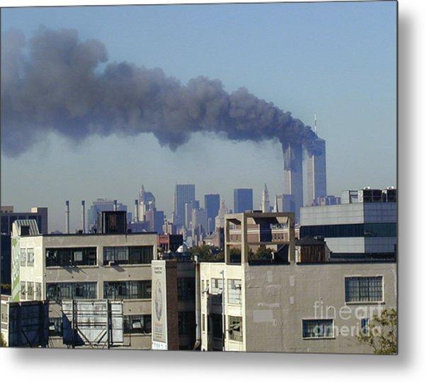 Twin Towers Burning Metal Print