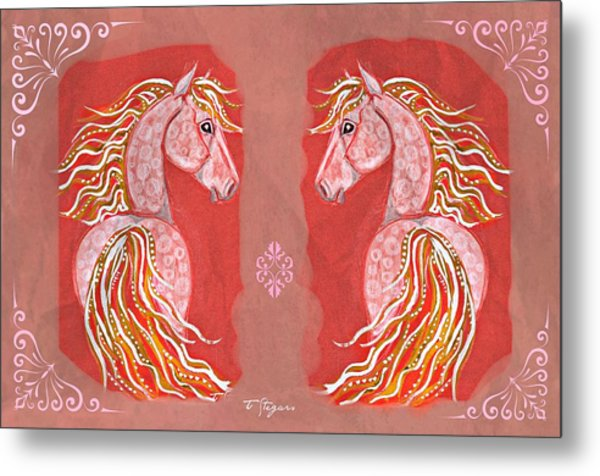 Twins In Red Metal Print