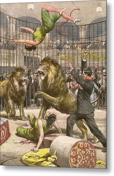 Two Acrobats Fall Into The  Lions' Metal Print by Mary Evans Picture Library