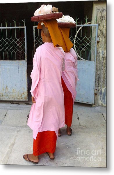 Two Buddhist Nuns Collecting Food Donation From Locals 75th Street Mandalay Burma Metal Print by PIXELS  XPOSED Ralph A Ledergerber Photography