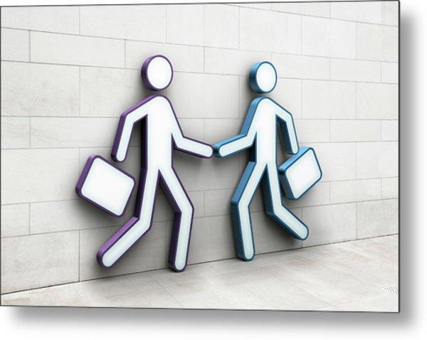 Two Businessmen Shaking Hands Metal Print by Jorg Greuel