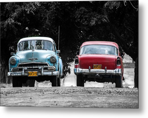Two Cars Passing Metal Print