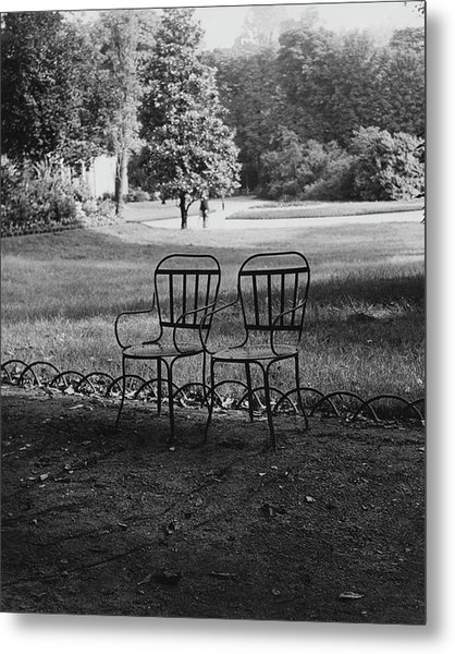Two Chairs Near The Champs Elysees Metal Print by Erwin Blumenfeld