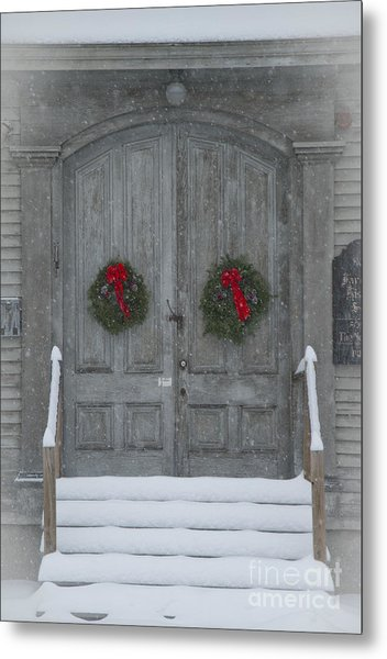 Two Christmas Wreaths Metal Print