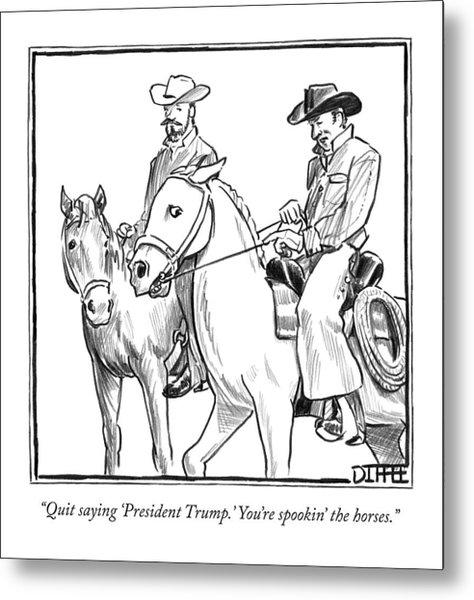 Two Cowboys On Horseback Converse Metal Print