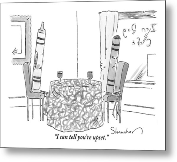 Two Crayons Sit Across From Each Other At A Round Metal Print