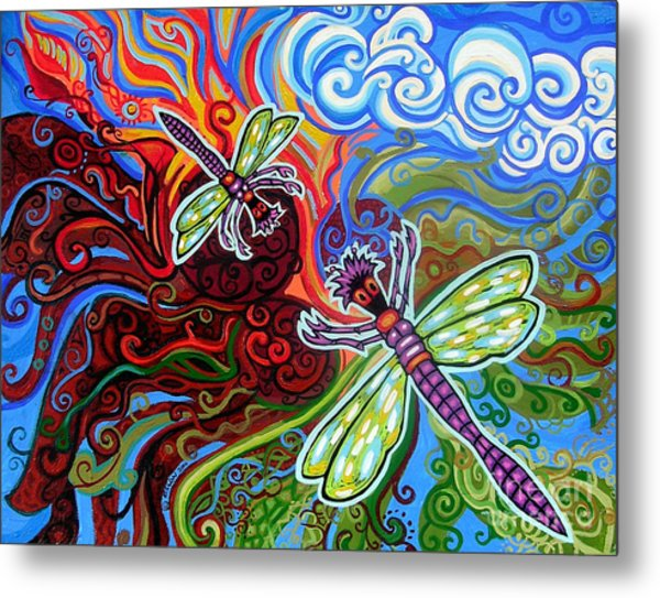 Two Dragonflies Metal Print
