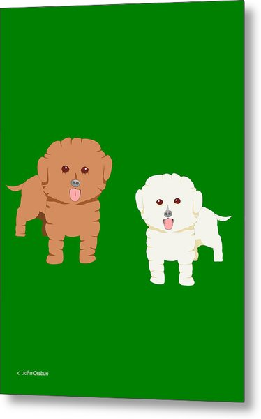 Two Fluffy Dogs Metal Print