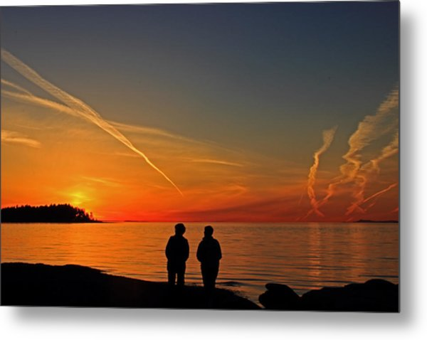 Two Friends Enjoying A Sunset Metal Print