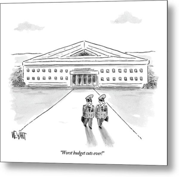 Two Generals Walking Away From The Pentagon Metal Print